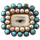 Image of Early 19th Century Lover's Eye Georgian Turquoise and Seed Pearl Brooch For Sale