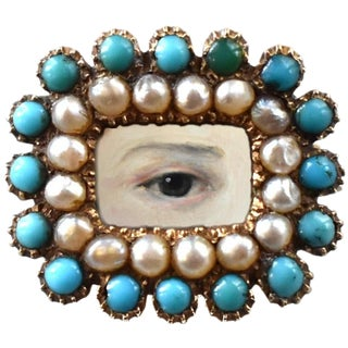 Early 19th Century Lover's Eye Georgian Turquoise and Seed Pearl Brooch For Sale