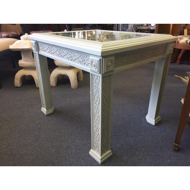 Blue 1950s Vintage Chinese Chippendale Style Fretwork Design End Table For Sale - Image 8 of 11