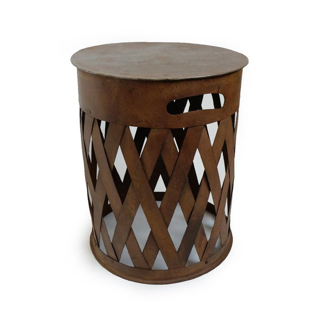 Modern Vintage Iron Weave Stool For Sale - Image 3 of 5