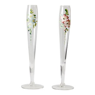 Vintage Hand Painted Champagne Flutes - a Pair For Sale