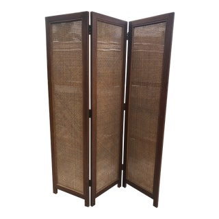 Mid 20th Century Cane & Hardwood 3 Panel Folding Screen For Sale