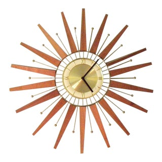 Vintage Mid Century Star Burst Wall Clock For Sale