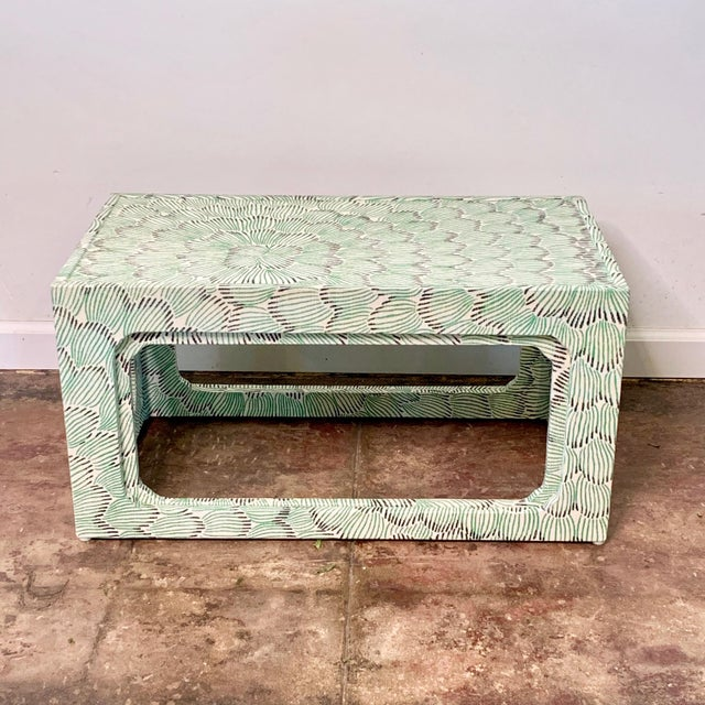 2 nesting tables newly covered in Celerie Kimble for Schumacher, grass cloth. Smaller table stores completely under the...