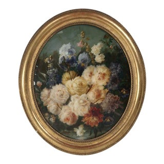 Antique French Eglomise Flower Mirror Painting For Sale
