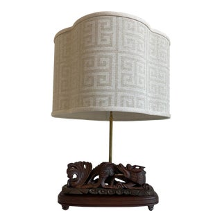 Chinese Dragon Lamp & Shade For Sale