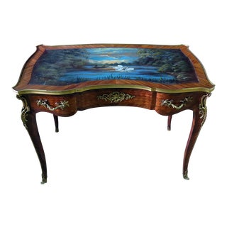 Regency Style Swan Painting Writing Desk For Sale