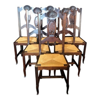 French Country Carved Walnut and Rush Dining Chairs -Set of 6 For Sale