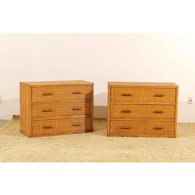 Mid-Century Modern Handsome Pair of Restored Vintage Bamboo and Rattan Chests For Sale - Image 3 of 10