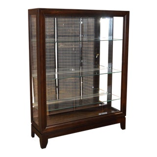Pulaski Transitional Style Sliding Door Lighted Curio Cabinet For Sale