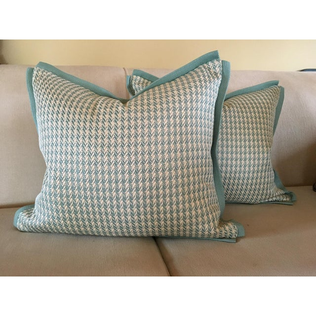 Aqua Houndstooth Pillow Covers - A Pair For Sale - Image 13 of 13