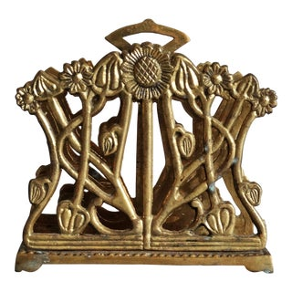 French Art Nouveau Brass Letter Rack For Sale