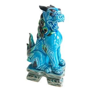 Vintage Turquoise Foo Dog on Pedestal Base