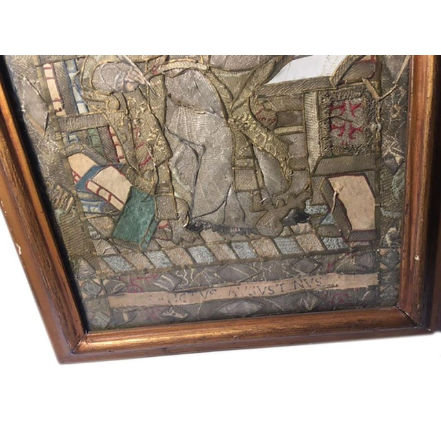 """Early 19th Century """"Moses Reading Scriptures"""" Silk Textile Art, Framed For Sale In Dallas - Image 6 of 9"""