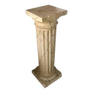 1940s Vintage Decorative Fluted Plaster Column Pedestal For Sale