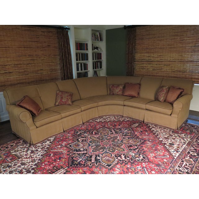 Awesome Custom 7 Seat Curved Sectional Sofa With Leather Trim Customarchery Wood Chair Design Ideas Customarcherynet
