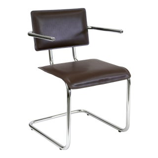 Kehl Brazilian Modern Chrome Tube Frame Arm Chair in Dark Brown Leather