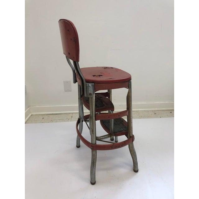 Terrific Vintage Industrial Red Metal Folding Step Stool Ncnpc Chair Design For Home Ncnpcorg