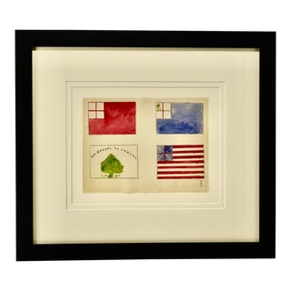 Antique Watercolor Revolutionary War Flags For Sale