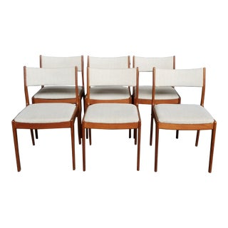 1960s Vintage Danish Modern Johannes Andersen Uldum Mobelfabrik Teak Dining Chairs - Set of 6 For Sale