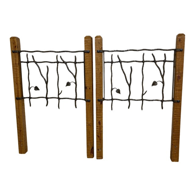 Hand Forged Iron and Wood Twin King Headboards - a Pair For Sale