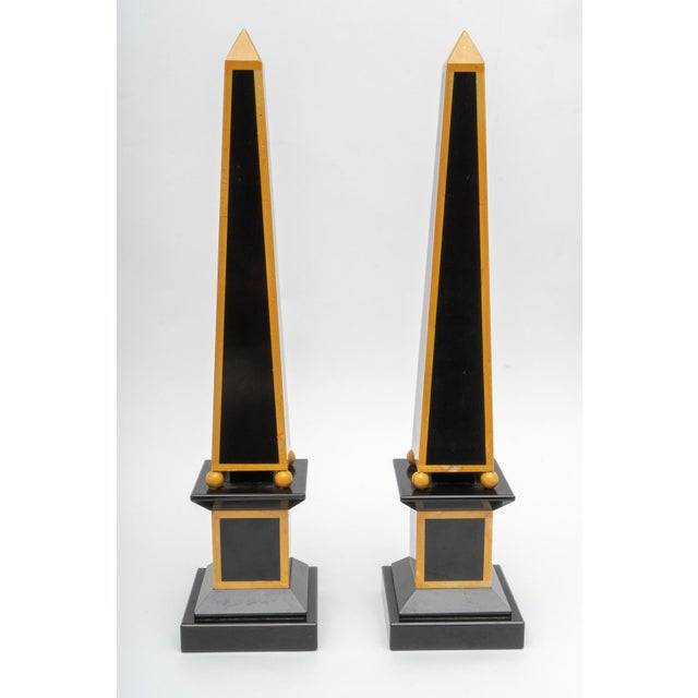Stone 1920s Egyptian Revival Art Deco Marble Obelisks - a Pair For Sale - Image 7 of 9