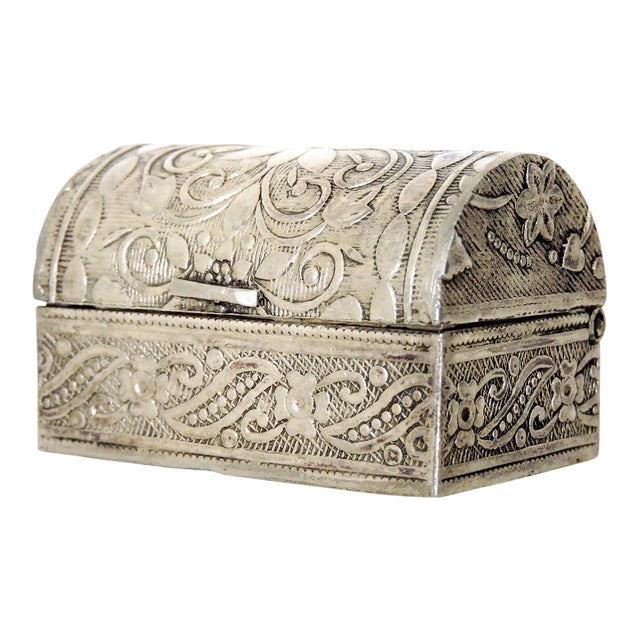 Miniature Silver Chest / Pill or Snuff Box For Sale