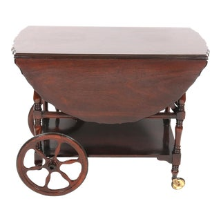 Drop-Leaf Tea Trolley Serving Cart, Vintage For Sale