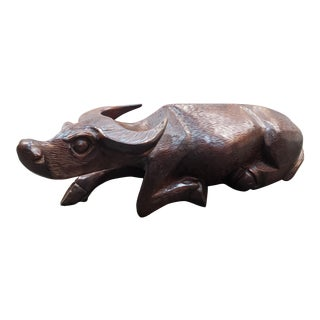 Circa 1920 Chinese Carved Wooden Recumbent Water Buffalo Sculpture For Sale