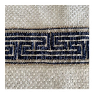 "Luxe 2 1/8"" Navy on Natural Greek Key Trim- 52"" For Sale"