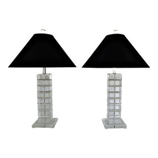 """Vintage Pair of Chunky Lucite and Chrome Lamps by Bauer """"Clearlite"""" Mid Century Modern"""