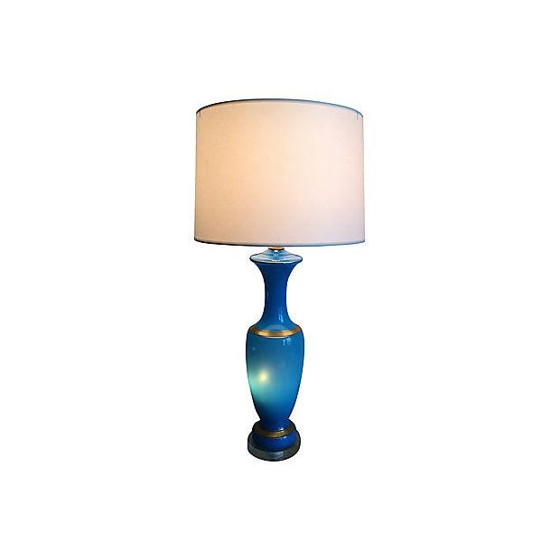 French French Blue Opaline Lamp For Sale - Image 3 of 8
