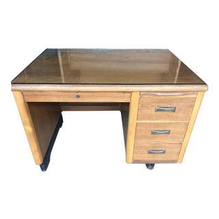1970s Mid-Century Modern Wooden Tanker Desk For Sale