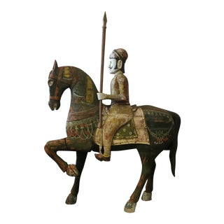 Hand Carved Man on Horse With Spear For Sale