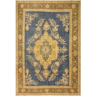 Vintage Distressed Overdyed Noel Blue/Brown Wool Rug - 8'0 X 12'1