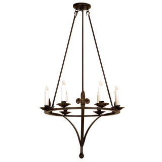Tosca Italian Country Wrought Iron Six Light Chandelier by Randy Esada Designs For Sale