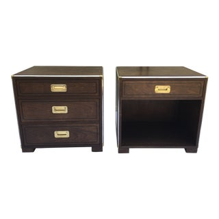 Baker Furniture Campaign Style Nightstands, a Pair For Sale