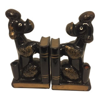 Vintage Redware French Poodle Bookends - A Pair