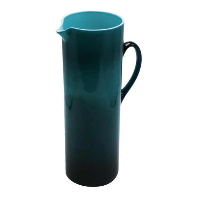 Moretti Empoli Teal Cased Glass Pitcher, C. 1960 For Sale