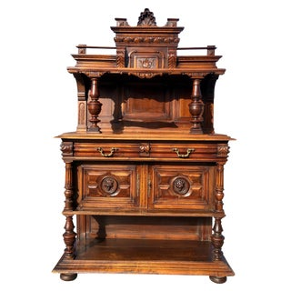Antique European Renaissance Revival Carved Lion Head Walnut Sideboard Buffet For Sale