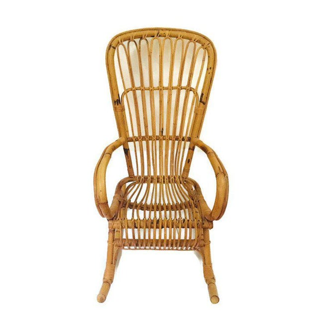 Mid Century Sculpted Bamboo Rocking Chair High Back Franco Albini Style Rocker For Sale In Richmond - Image 6 of 11