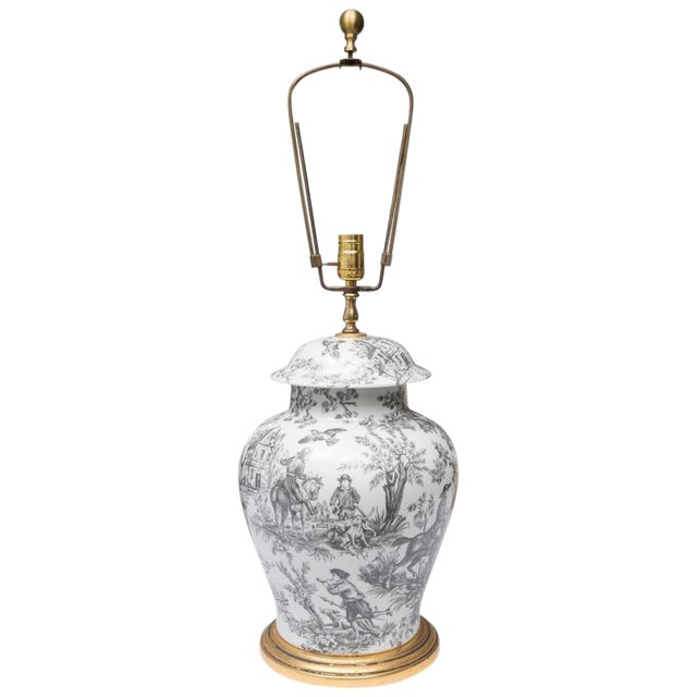 Black and White French Toile Motif Lamp For Sale
