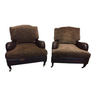 1990s Vintage Leather and Fabric Lounge Chairs- a Pair For Sale