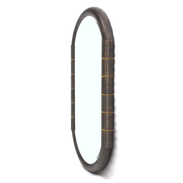 Bronze Heavy Bronze Oval Racetrack Shape Mid Century Modern Mirror For Sale - Image 7 of 9