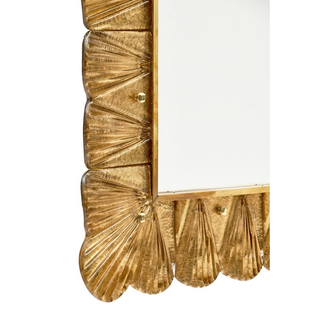 Gold Murano Glass Gold Leaf Mirror For Sale - Image 8 of 11