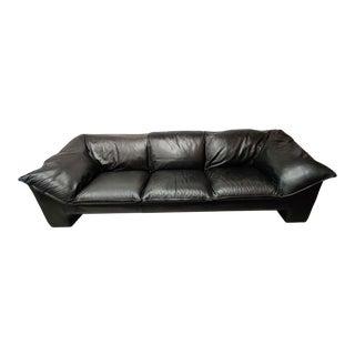 Niels Eilersen Denmark Black Leather Sofa For Sale