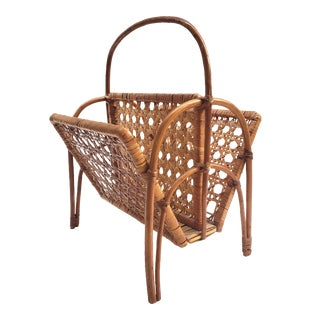 Mid-Century Modern Rattan & Cane Magazline Rack with Handle For Sale