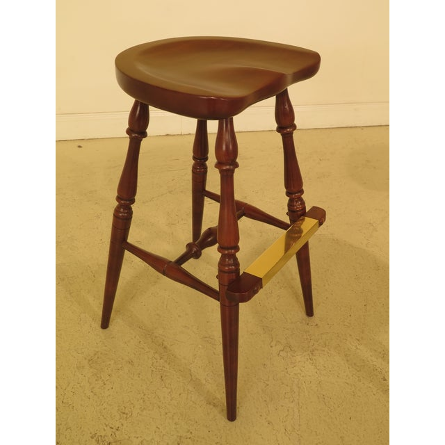 1990s Frederick Duckloe Cherry Saddle Seat High Seat Bar Stools - Set of 3 For Sale - Image 5 of 11