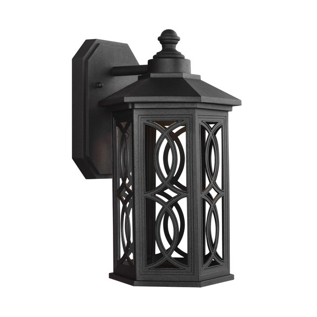 Traditional Lena Small LED Outdoor Wall Lantern, Black For Sale - Image 3 of 3