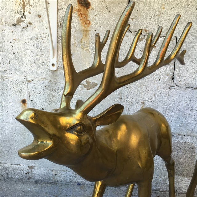 Hollywood Regency 2.4' Tall Brass Elk Couple - Image 4 of 9